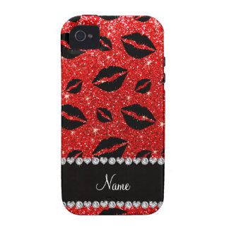 Name lipstick kisses neon red glitter vibe iPhone 4 cases