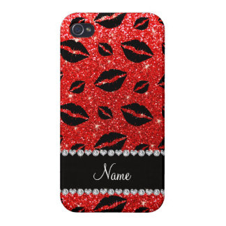 Name lipstick kisses neon red glitter iPhone 4 cases