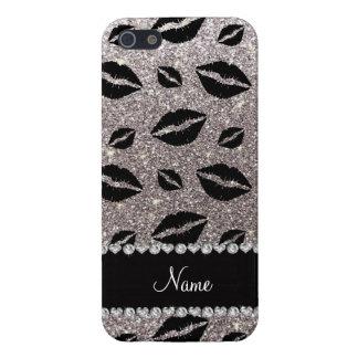 Name lipstick kisses silver glitter iPhone 5 case