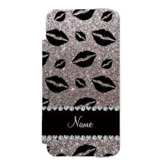 Name lipstick kisses silver glitter incipio watson™ iPhone 5 wallet case