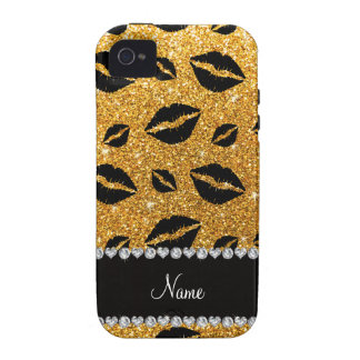 Name lipstick kisses yellow glitter vibe iPhone 4 cover
