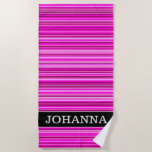 [ Thumbnail: Name + Magenta and Pink Stripes/Lines Pattern Beach Towel ]