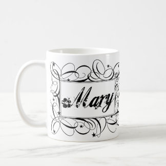Name Mary in black inside stylish frame Coffee Mug