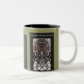 Name me and I will tell you who you are triptych Two-Tone Coffee Mug
