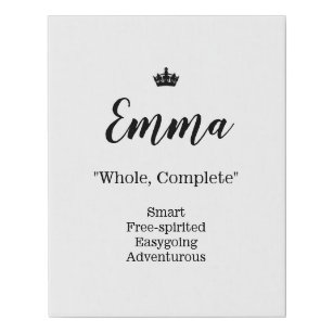Name Meaning Canvas Picture - Emma