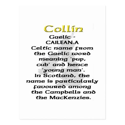Name meaning Collin Postcards