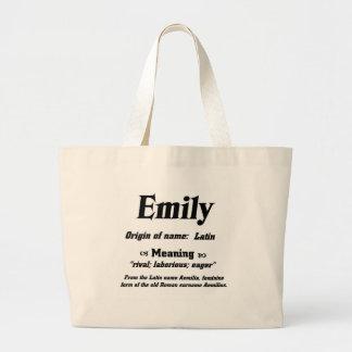 Name Meaning 'Emily' Jumbo Tote Bag