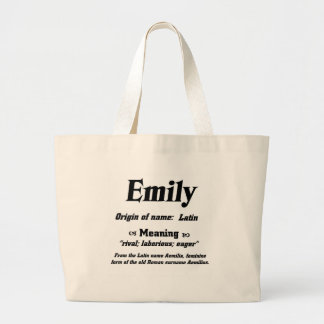 Name Meaning 'Emily' Large Tote Bag