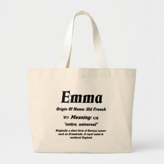 Name Meaning 'Emma' Large Tote Bag