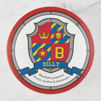 Name meaning heraldry billy letter B coin tray
