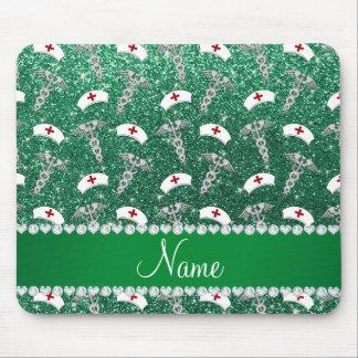 Name mint green glitter nurse hats silver caduceus mouse pad