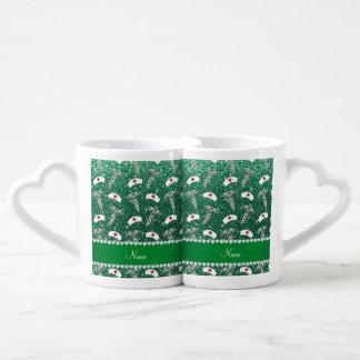 Name mint green glitter nurse hats silver caduceus couples' coffee mug set
