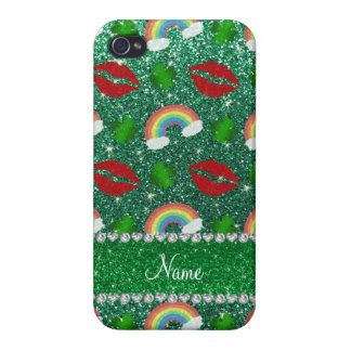 Name mint green glitter shamrocks rainbows kisses covers for iPhone 4