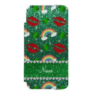 Name mint green glitter shamrocks rainbows kisses incipio watson™ iPhone 5 wallet case