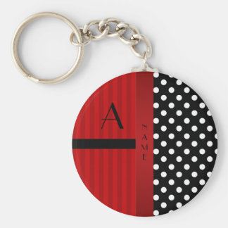 Name monogram black white polka dots red stripes keychain