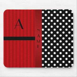 Name monogram black white polka dots red stripes mouse pad