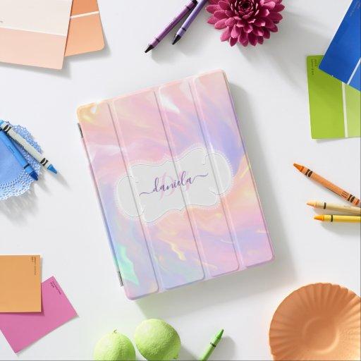 Name Monogram Holographic Princess Purple iPad Smart Cover