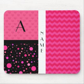 Name & Monogram pink chevrons polka dots Mouse Pad