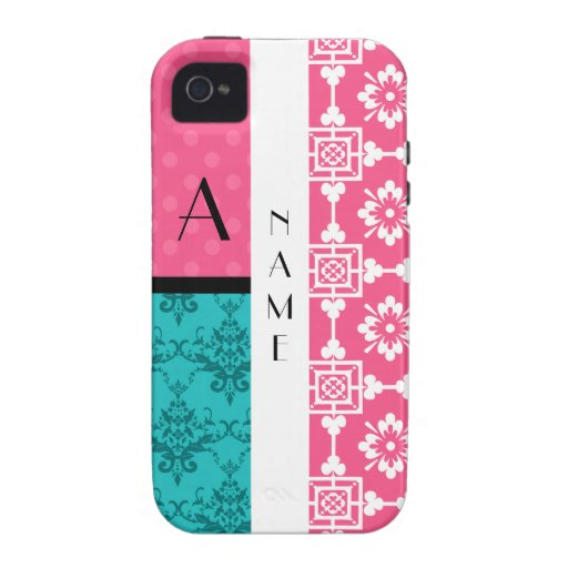 Name & monogram pink moroccan damask dots iPhone 4/4S covers