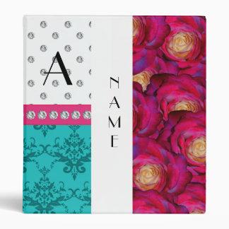 Name monogram pink roses turquoise damask binder