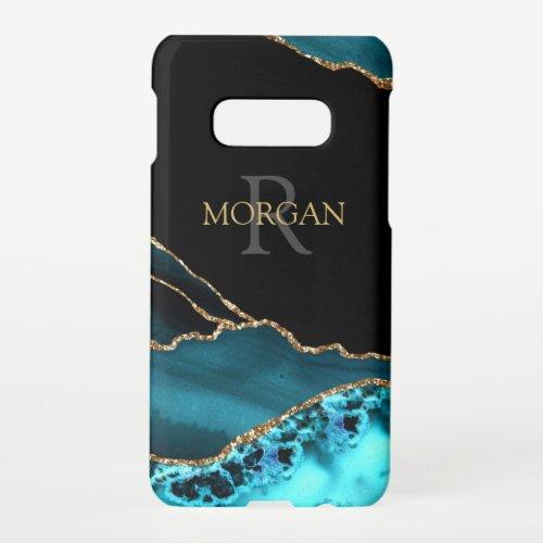 Name & Monogram, Teal Black Agate, Gold Grey Text Phone Case