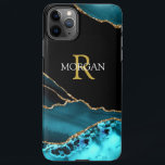 """Name & Monogram, Teal Black Agate, Gold White Text iPhone 11Pro Max Case<br><div class=""""desc"""">Personalize this stylish and Trendy Teal and Black Agate with your Name and Monogram in Gold and White text. This design is sure to get attention. Version 2.</div>"""
