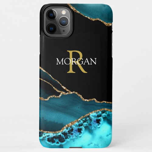 Name & Monogram, Teal Black Agate, Gold White Text iPhone 11Pro Max Case