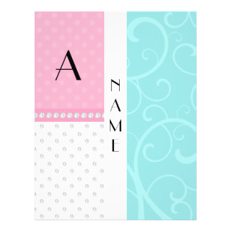 Name monogram turquoise swirls pink polka dots personalized flyer