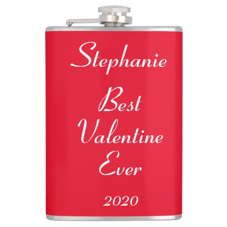 Name Monogram Valentine's Day Funny Cute Cool Gift Flask