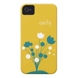 Name Mustard Yellow & Teal flower iPhone 4/4s iPhone 4 Case-Mate Case