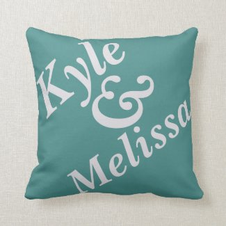 Name & Name teal pillow (personalize)