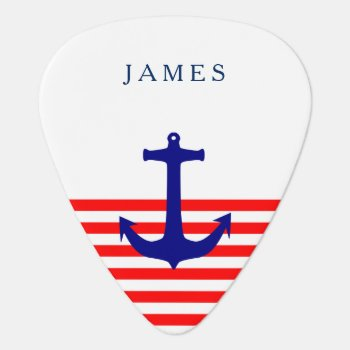 Name Nautical Navy Blue Anchor On Red Stripe Guitar Pick by rockandpicks at Zazzle