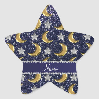 Name navy blue glitter gold moons silver stars star sticker
