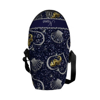 Name navy blue glitter gold seahorses silver shell courier bag