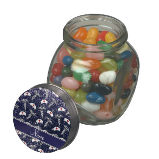 Name navy blue glitter nurse hats silver caduceus jelly belly candy jars