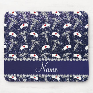 Name navy blue glitter nurse hats silver caduceus mouse pad