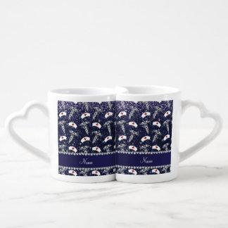 Name navy blue glitter nurse hats silver caduceus couples' coffee mug set