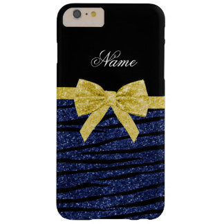 Name navy blue glitter zebra stripes gold bow barely there iPhone 6 plus case