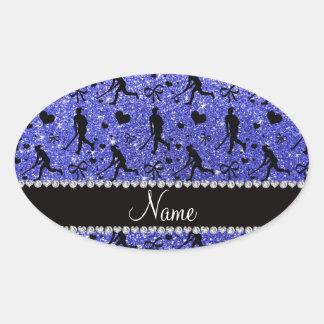 Name neon blue glitter field hockey hearts bow oval sticker