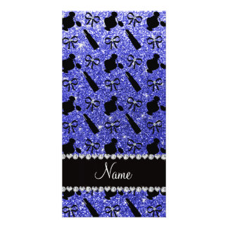 Name neon blue glitter perfume lipstick bows photo card