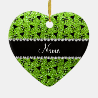 name neon green glitter cocktail glass bow ceramic ornament