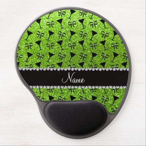 name neon green glitter cocktail glass bow gel mouse pad