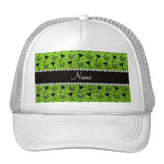 name neon green glitter cocktail glass bow hats