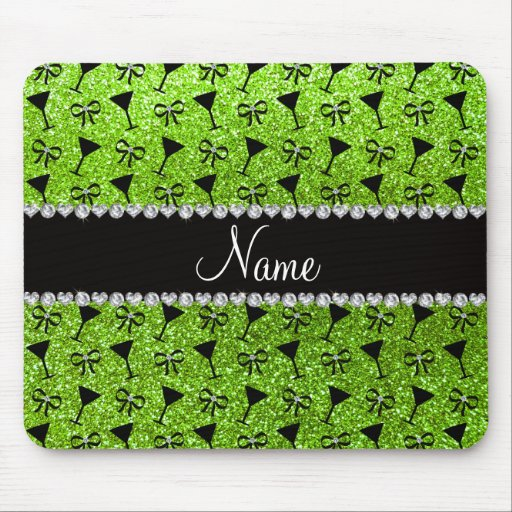name neon green glitter cocktail glass bow mouse pads