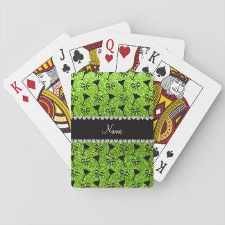name neon green glitter cocktail glass bow card decks