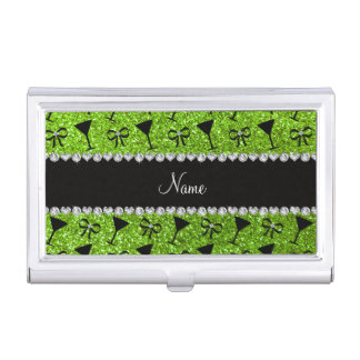 name neon green glitter cocktail glass bow business card holders