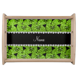 name neon green glitter cocktail glass bow food trays