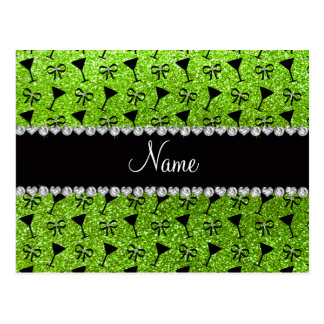 name neon green glitter cocktail glass bow post card