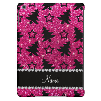 Name neon hot pink glitter christmas trees stars case for iPad air