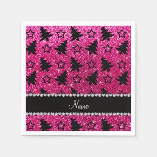 Name neon hot pink glitter christmas trees stars paper napkin